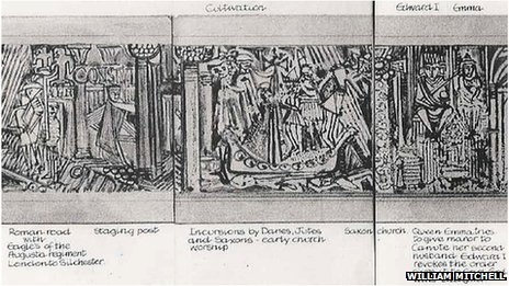 Design drawings for William Mitchell's Bracknell relief