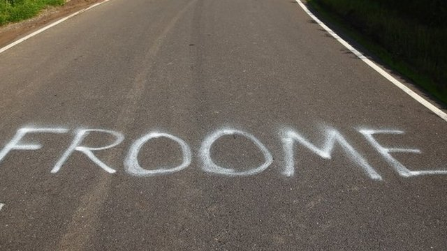 Chris Froome's name is painted on the road at stage two of the Tour De France in Bradfield, Yorkshire