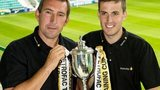 Hibernian boss Alan Stubbs and Callum Booth after the draw