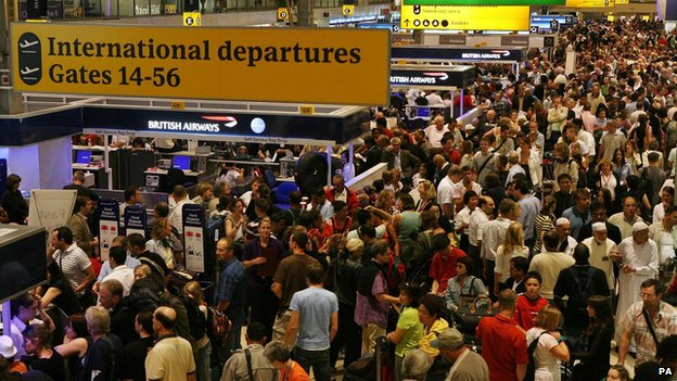 Queues at Heathrow airport