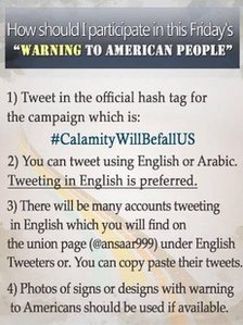 "A tweet by @ansaaar999 with guidelines for its ""Warning to American People"" Twitter campaign."