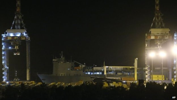 The US cargo vessel MV Cape Ray leaves the Gioia Tauro port, southern Italy, 2 July 2014