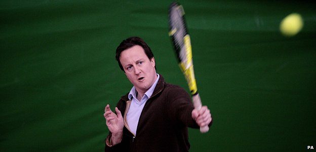 David Cameron playing tennis in 2008