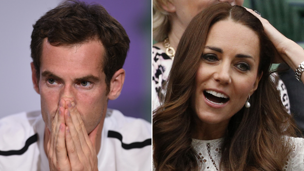 Composite image showing Andy Murray after his defeat and the Duchess of Cambridge watching from the Royal Box
