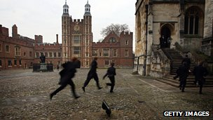 Boys rush to class at Eton College
