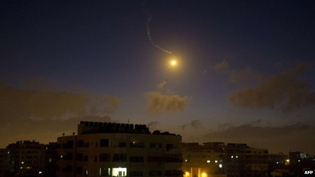 A flare over Gaza City after an Israeli airstrike, 3 July 2014