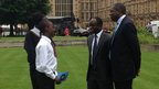Children speak to politicians outside Westminster