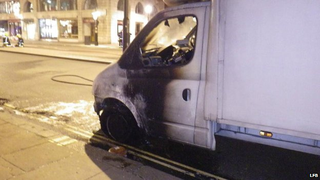 The van after the fire
