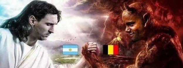 A twitter grab of Messi arm-wrestling Vincent Kompany