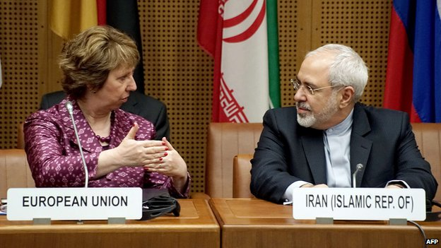 Catherine Margaret Ashton (L) and Iranian Foreign Minister Javad Mohammad Zarif (R) meet during so-called EU 5+1 talks with Iran at the UN headquarters in Vienna, on July 3