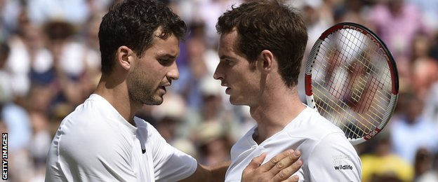 Grigor Dimitrov consoles Andy Murray (right) after wining their quarter-final match