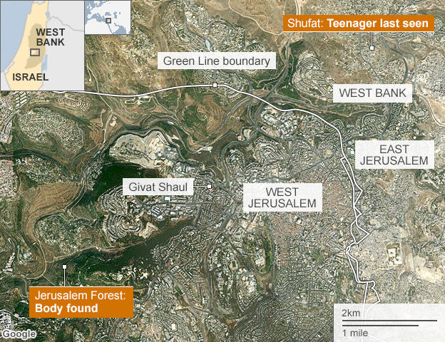 Map of Jerusalem showing locations of kidnapping and body