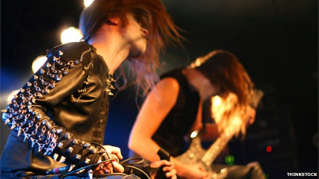Head-banging heavy metal band