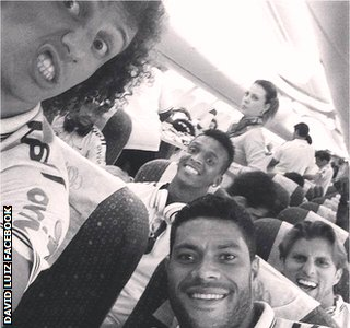 David Luiz with his Brazil team-mates