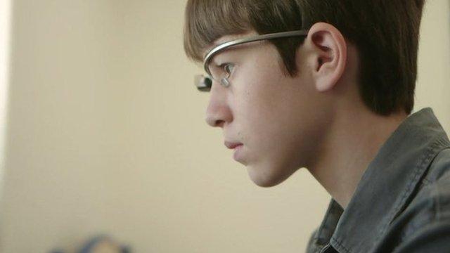 Thomas Suarez with his Google Glass