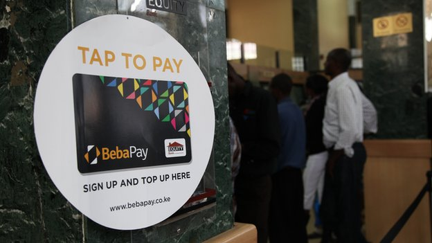 Tap to Pay logo in bank branch