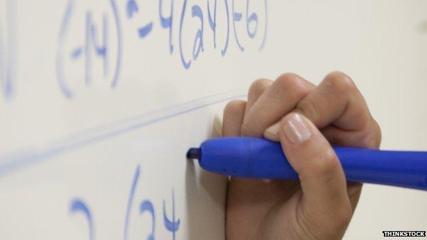 Writing equation on whiteboard
