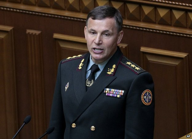 Ukrainian Defence Minister Valeriy Heletey in parliament in Kiev, 3 July