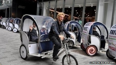 London Rickshaws in action