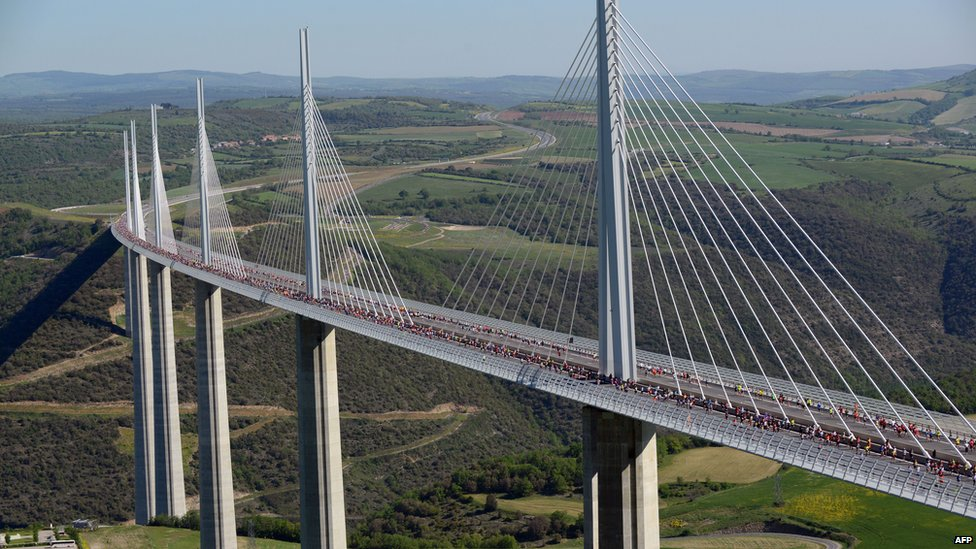 Millau bridge in the Massif Central mountains of France