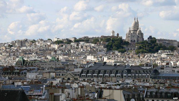 View towarsd the Sacre Coeur in Paris in 2013