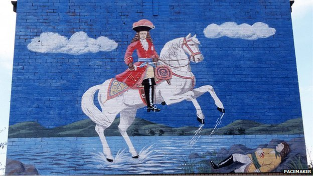 A loyalist mural depicting William of Orange's victory at the 1690 Battle of the Boyne