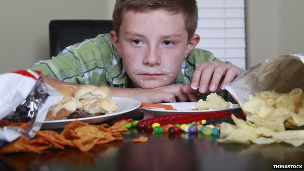 Child with a table full of food