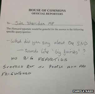 House of Commons 'Fearties' document