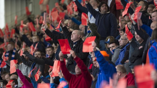 Rangers fans in red card protest