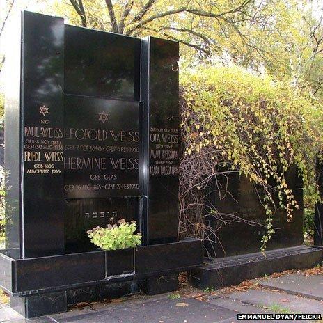 A grave in Brno's Jewish cemetery