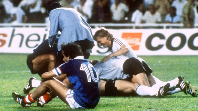 West Germany beat France in the 1982 World Cup semi-final in the first ever penalty shootout