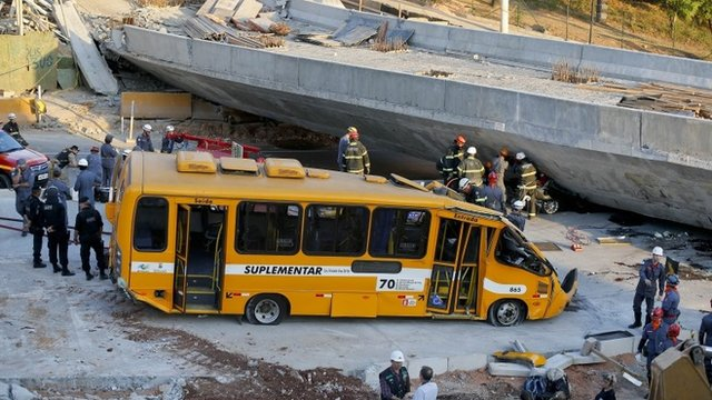The damaged bus