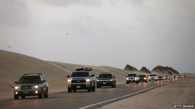 An exodus of Hatteras Island on Highway 12