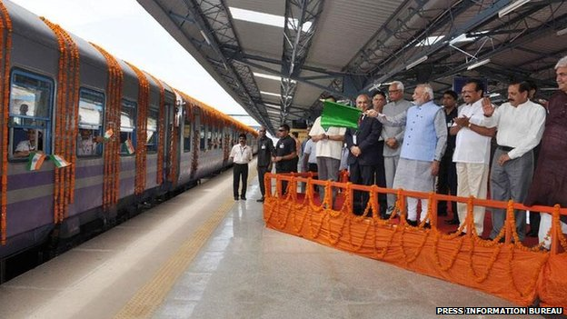 PM Modi flags off the first train from Katra