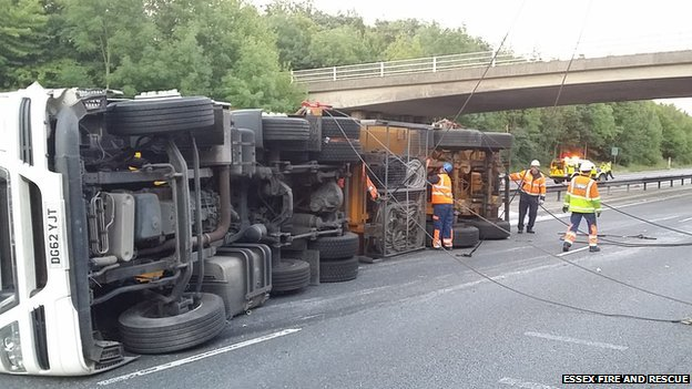 M11 lorry crash