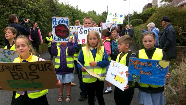 Pupils and parents protest