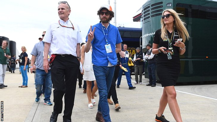 Simon Rix (centre) of the Kaiser Chiefs at Silverstone