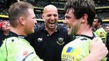 Dylan Hartley, Jim Mallinder and Ben Foden celebrate winning the Premiership title