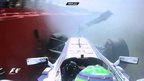 Felipe Massa suffers a big crash during practice for the British Grand Prix at Silverstone.