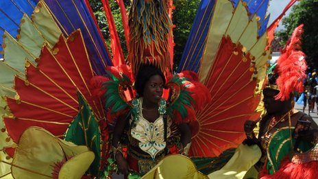 People taking part in the Caribbean carnival parade in Leicester