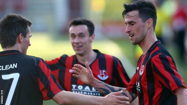 Crusaders celebrated a 3-1 win over FK Ekranus at Seaview