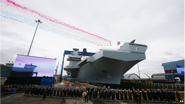 The Red Arrows fly over HMS Queen Elizabeth
