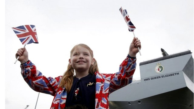 Amy Roslender, six, at the naming ceremony in Rosyth dockyard
