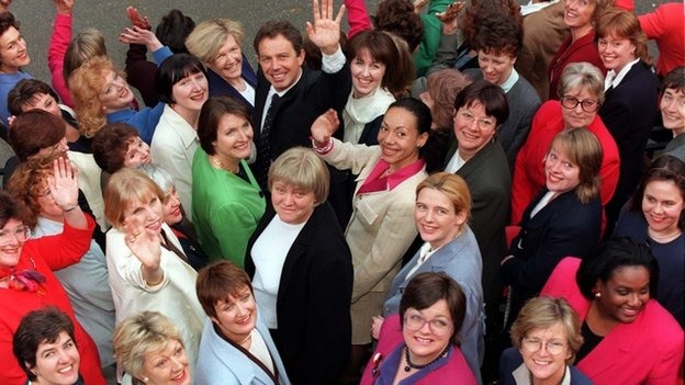 Tony Blair with women Labour MPs