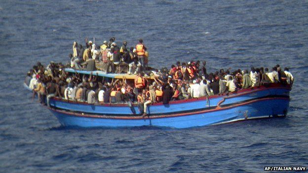Boat laden with passengers