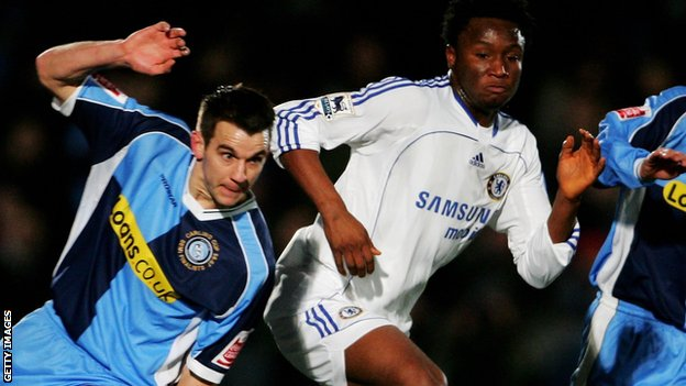 Jon Obi Mikel of Chelsea and Matt Bloomfield of Wycombe in action in 2007