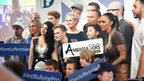 All the stars, including Jodie Marsh, Diversity, Will Poulter, Lucy Kay, and Bars and Melody onstage for the group photocall