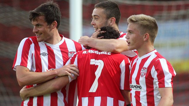 Derry City celebrate their 4-0 win over Welsh club Aberystwyth Town
