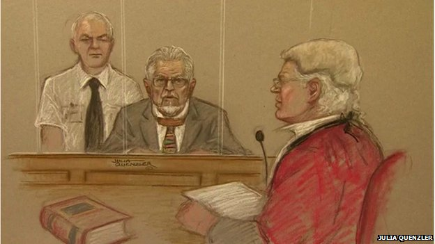 A court drawing of Rolf Harris