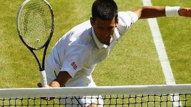 Novak Djokovic wins a third set tie break